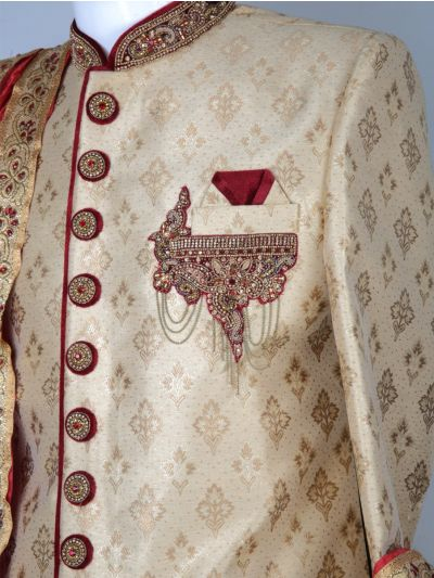 NEA1608523 - Exclusive Heavy Jacquard Hand Work Indo Western Suit