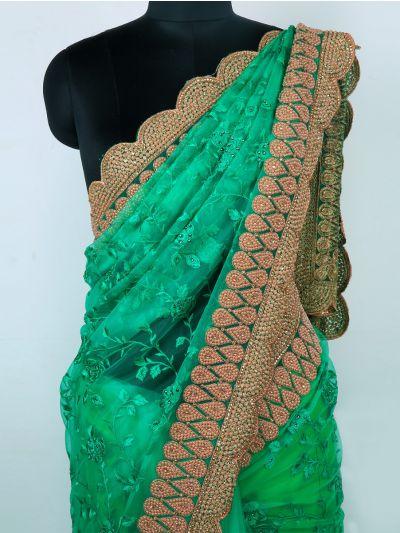 Kyathi Exclusive Thread Jaal & Moti Work Scallop Border Designer Saree - MIA2680158