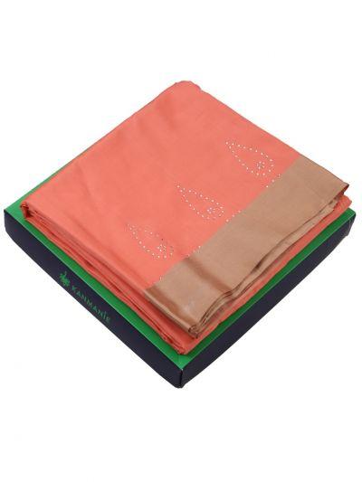 Kanmanie 3 Inch Border Stone Work Soft Silk Saree