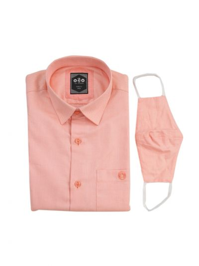 ZF Men's Readymade Casual Cotton Shirt With Matching Color Mask