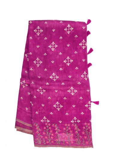 Fancy Pure Tussar Silk Printed Saree - OFA7358875