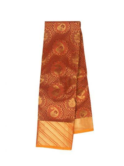 Traditional Jari Butta Maroon Silk Saree - OFB7954688