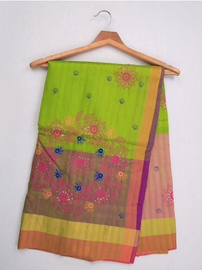 MJC7619272-Embroidery Designs Work Soft Silk Saree