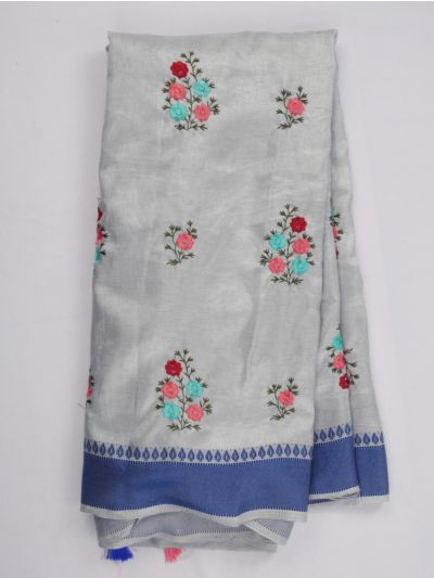 Nadhira Fancy Art Dupion Embroidered Saree - MIB3324977