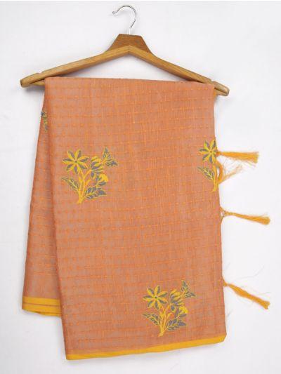 Kathana Fancy Tissue Slub Embroidered Saree - MJD8050980