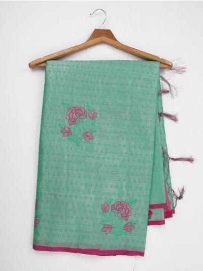 Kathana Fancy Tissue Slub Embroidered Saree - MJD8050993