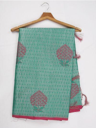 Kathana Fancy Tissue Slub Embroidered Saree - MJD8051004