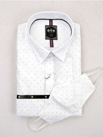 EKM - ZF Men's Readymade Casual Cotton Shirt With Matching Color Mask