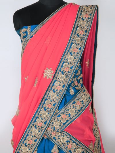 Semi-Stitched Lehenga & Blouse with Dupatta-MIB3241380