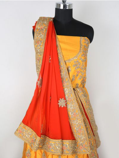 MIB3241381-Semi-Stitched Lehenga & Blouse with Dupatta