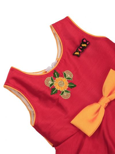 Infant Girls Embroidery Design Synthetic Fancy Frock - MGC0250452 Size-12(0 to 6 months)