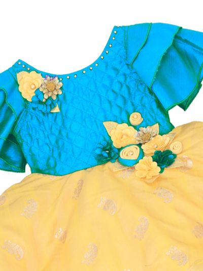 Infant Girls Embroidery Design Synthetic Fancy Frock - MFB3166558 Size-14(6 to 9 months)