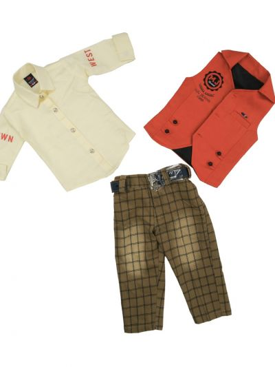 Boy Casual Coat With Shirt, Waistcoat And Pant Set-MJB7322166 Size 16 - (1 Year)