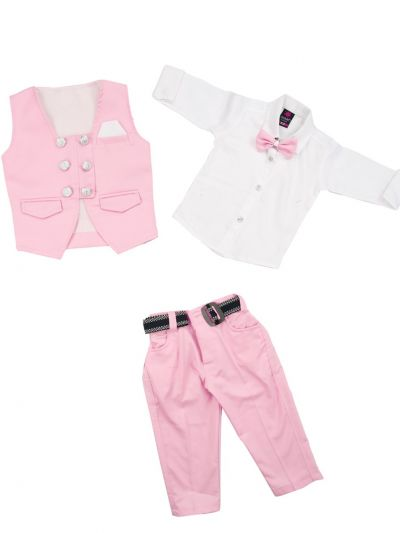 7 Days 7 Boy Casual Coat With Shirt, Waistcoat, Tie And Pant Set-MJB7322141 Size 16 - (1 Year)