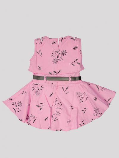Infant Girls Fancy Printed Denim Frock - MID5362683