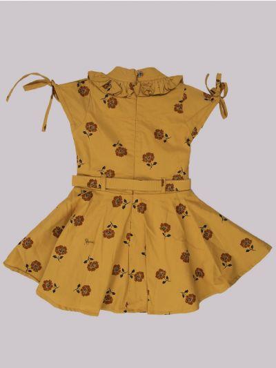 Infant Girls Fancy Printed Denim Frock - MID5362696
