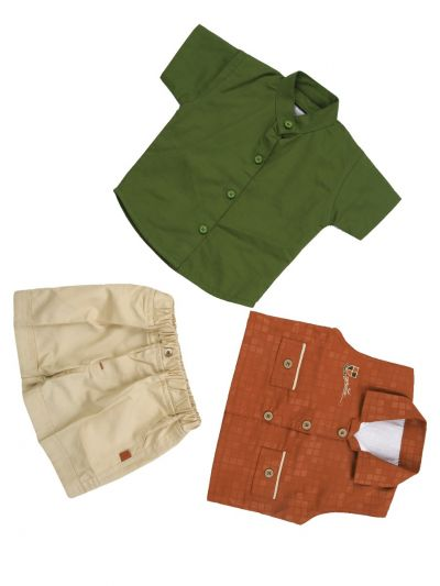 7 Days 7 Boy Casual Coat With Shirt, Waistcoat And Pant Set-MFB3272035 (0 to 6 Months)