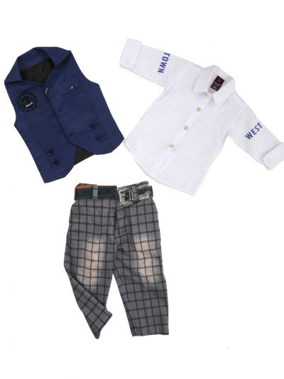 7 Days 7 Boy Casual Coat With Shirt, Waistcoat And Pant Set-MJB7322146 - 1 Year