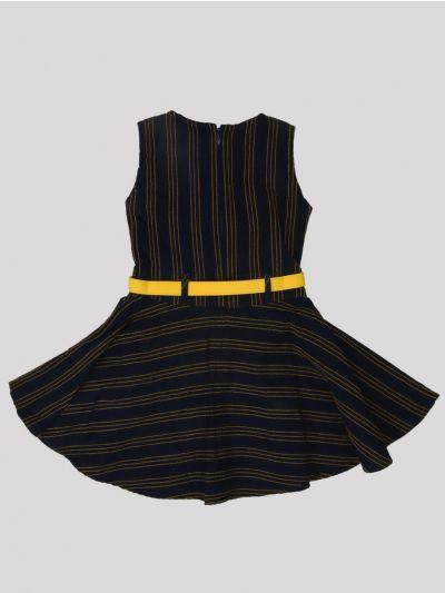 Infant Girls Fancy Printed Denim Frock - MID5820031