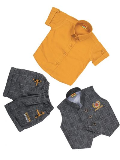 7 Days 7 Boy Casual Coat With T-Shirt, Waistcoat And Pant Set-MJC7452208 - 1 Year