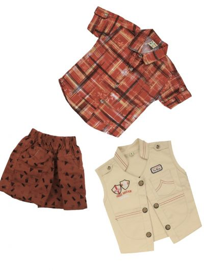 7 Days 7 Boy Casual Coat With T-Shirt, Waistcoat And Pant Set-MJA6723745 - 1 Year