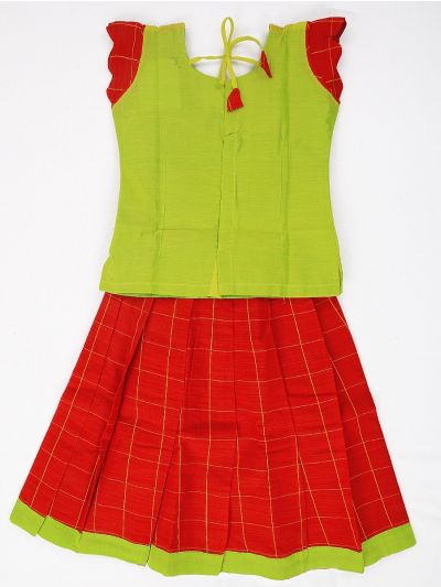 Girls Readymade Chanderi Silk Cotton Pavadai Set - GRM3002