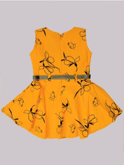 Infant Girls Fancy Printed Denim Frock - MID53626862