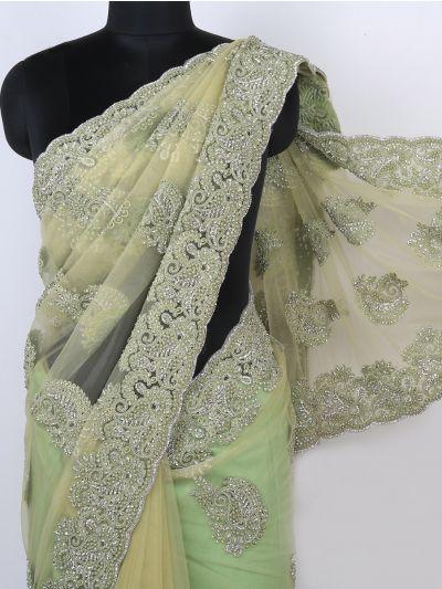 Kyathi Exclusive Zardosi & Moti Work Scallop Border Designer Saree - MIA2680162