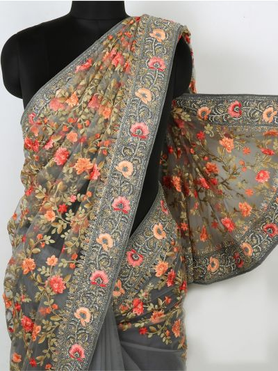 Kyathi Exclusive Thread Jaal & Patch Work Designer Saree - MIA2929007