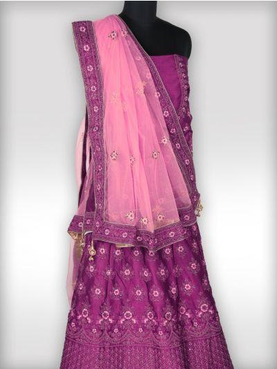 Embroidered Net Lehenga Style Embellished Saree - MGC0228321