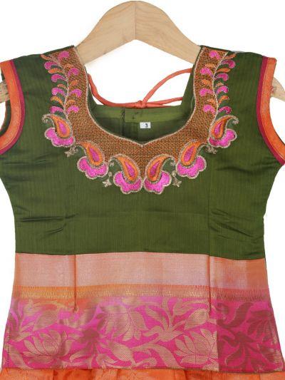 Girls Ready Made Art Silk Pavadai Set - GPP5013