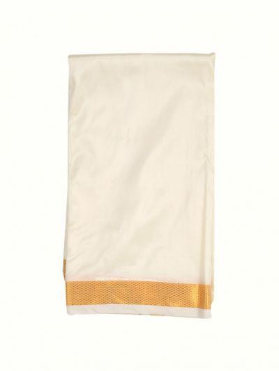 Vivaha Traditional Silk Mix Dhoti Shirt Material and Angavastram Set - NHA4298084