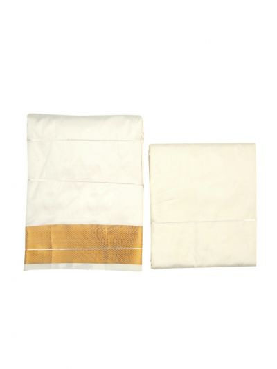 Vivaha Traditional Pure Silk Dhoti Shirt Material and Angavastram Set - OEC6323167