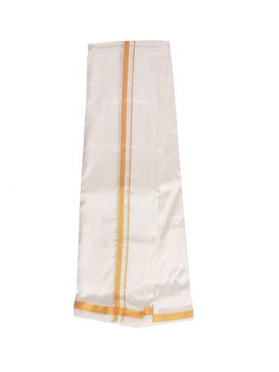 Traditional Art Silk Dhoti, Shirt Material and Angavastram Set - OEA4378337