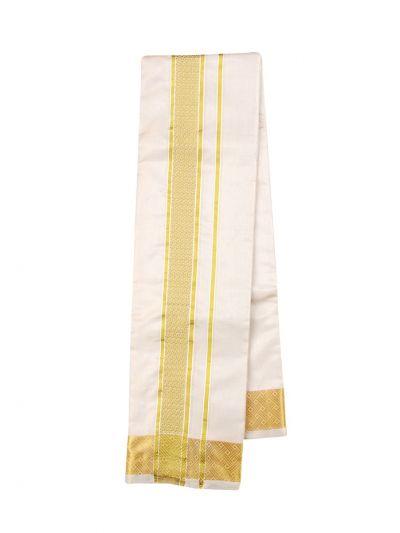 Vivaha Traditional Pure Silk Dhoti Shirt Material and Angavastram Set - OEA4606924