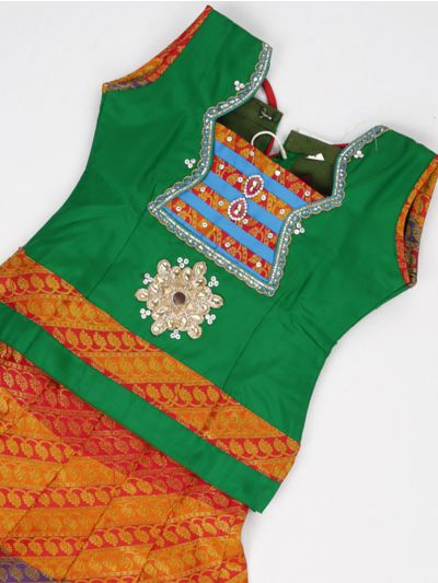 NCB0068595 - Girls Ready Made Art Silk Pavadai Set