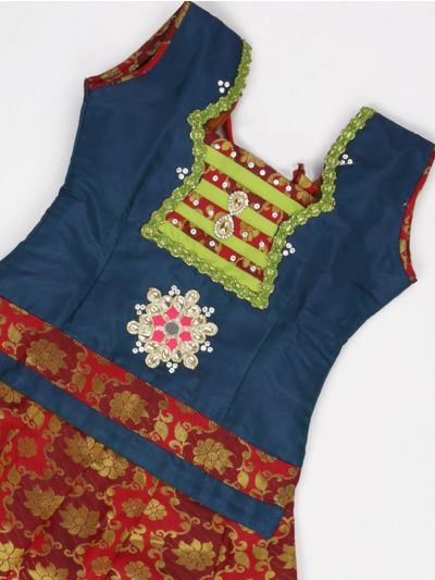 NCB0068630 - Girls Ready Made Art Silk Pavadai Set