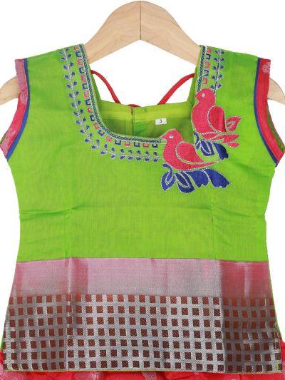 Girls Ready Made Art Silk Pavadai Set - GPP5014