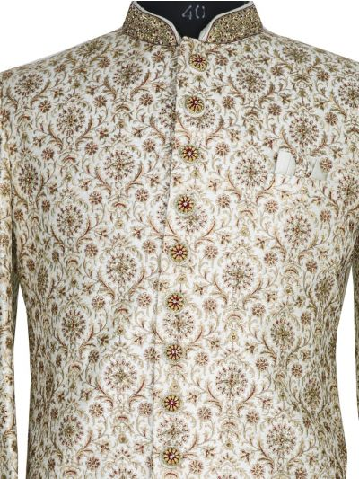 NJB0447304 - Exclusive Heavy Jacquard Indo Western Suit