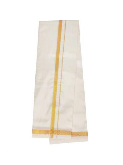 Traditional Art Silk Dhoti, Shirt Material and Angavastram Set - OEA4378328