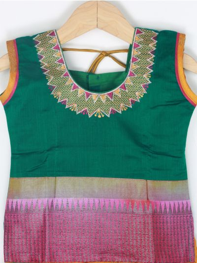 Girls Ready Made Art Silk Pavadai Set - GPP5016