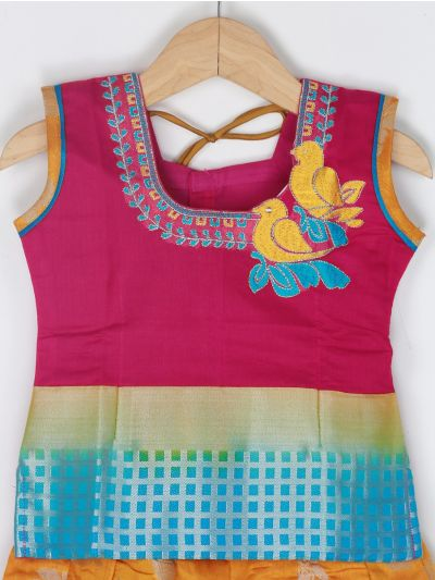 Girls Ready Made Art Silk Pavadai Set - GPP5019