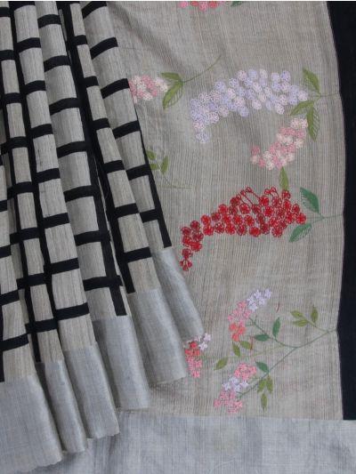 MFB4836397-Fancy Dupion Silk Allover Checked Designed Saree