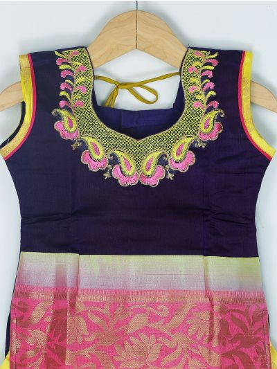 Girls Ready Made Art Silk Pavadai Set - GPP5022