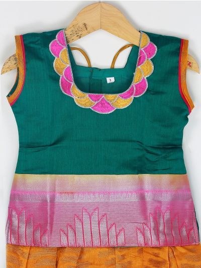 Girls Ready Made Art Silk Pavadai Set - GPP5023