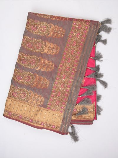 MDD2999365 - Banarasi Silk Stonework Saree