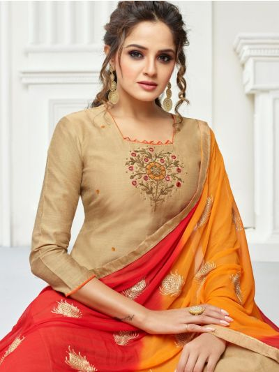Isabella Women's Jharna Silk with Hand Work Dress Material