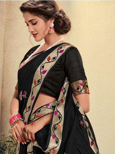 Kathana Embroidery Linen Cotton Saree - KCS1003