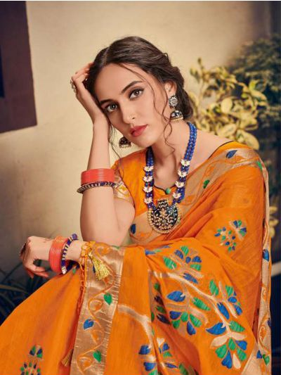 Kathana Embroidery Linen Cotton Saree - KCS1004