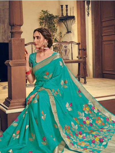 Kathana Embroidery Linen Cotton Saree - KCS1005